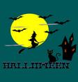 witches riding broomsmoonbatcatcastle vector image