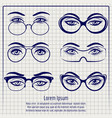 woman eyes with glasses pen poster vector image vector image