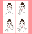 young woman with acne applies fresh tonic set vector image