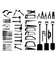 Set of power tools shovel drill hammer icon vector image