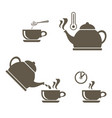 a set of icons for brewing tea in a cup that vector image vector image