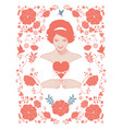 beautiful woman in retro style showing a thorned vector image vector image