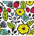 Bright seamless pattern with flowers and plants vector image vector image