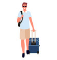 business trip man with baggage male with bag vector image