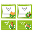 card template with four types animals vector image vector image