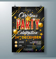 christmas party flyer with glass ball vector image