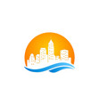 cityscape modern building logo vector image vector image