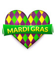 colorful heart mardi gras sign vector image vector image