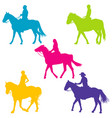 colorful silhouettes of horse riders vector image vector image