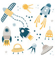 cute kids space design set vector image vector image