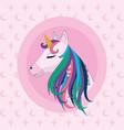 cute unicorn fantasy cartoon vector image vector image