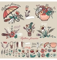 Doodle floral grouphand sketched element decor vector image