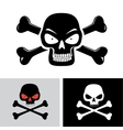 evil skull with bones vector image vector image
