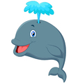 Funny cartoon whale vector image vector image