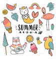 hand draw cute doodle icon summer collection vector image vector image