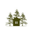 home and cedar tree vector image