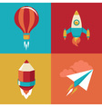 icons in flat style - start up and launch vector image vector image