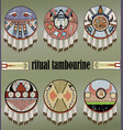 indians ritual tambourines vector image vector image