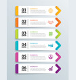 infographics tab in horizontal paper arrow with 6 vector image vector image