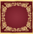 luxury gold pattern frame on claret background vector image vector image