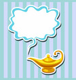magic lamp and space for text on striped back vector image vector image