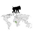 mandrill range map vector image vector image
