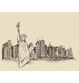 New York city with Statue of Liberty sketch vector image vector image