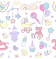 newborn bashower seamless pattern boy girl vector image vector image