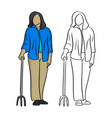 old woman in blue shirt holding a cane vector image