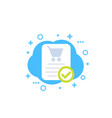 online order purchase completed icon vector image vector image