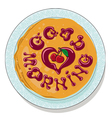 pancakes on plate with sweet cherry confiture vector image