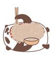 panda eating noodles vector image vector image
