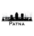 patna city skyline black and white silhouette vector image vector image