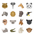 realistic animals set icons in cartoon style big vector image vector image