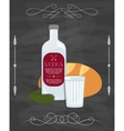 Russian traditional food bottle of vodka bread vector image