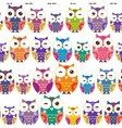 Seamless pattern - bright colorful owls on white vector image vector image