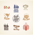 set logos on theme food and drink vector image