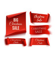 set of five red christmas sale realistic paper vector image vector image