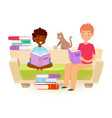 small kids holding open book and reading vector image