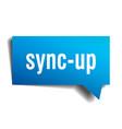 sync-up blue 3d speech bubble vector image vector image