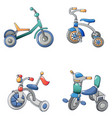 tricycle bicycle bike icons set cartoon style vector image