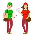 two attractive post women in uniform vector image vector image
