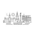 warsaw minimal style city outline skyline with vector image