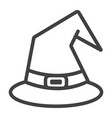witch hat line icon halloween and scary wizard vector image