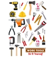 Work tools and equipment isolated icons vector image vector image