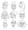 Different comic faces hipster faces with mustaches vector image