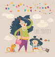 stylish mother with her daughter vector image