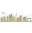 Abstract Tokyo Skyline with Color Buildings vector image vector image