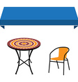 Awning table and chair vector image vector image
