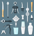 barman equipment flat set vector image vector image